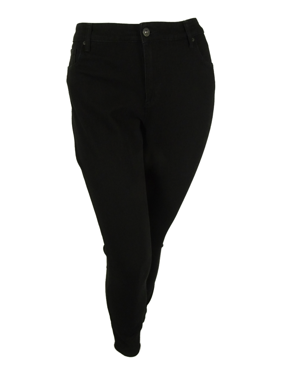 Women Black PullOn Slim Leg Velour Trim Leggings Pants Plus 24W 46x28 Style/&Co