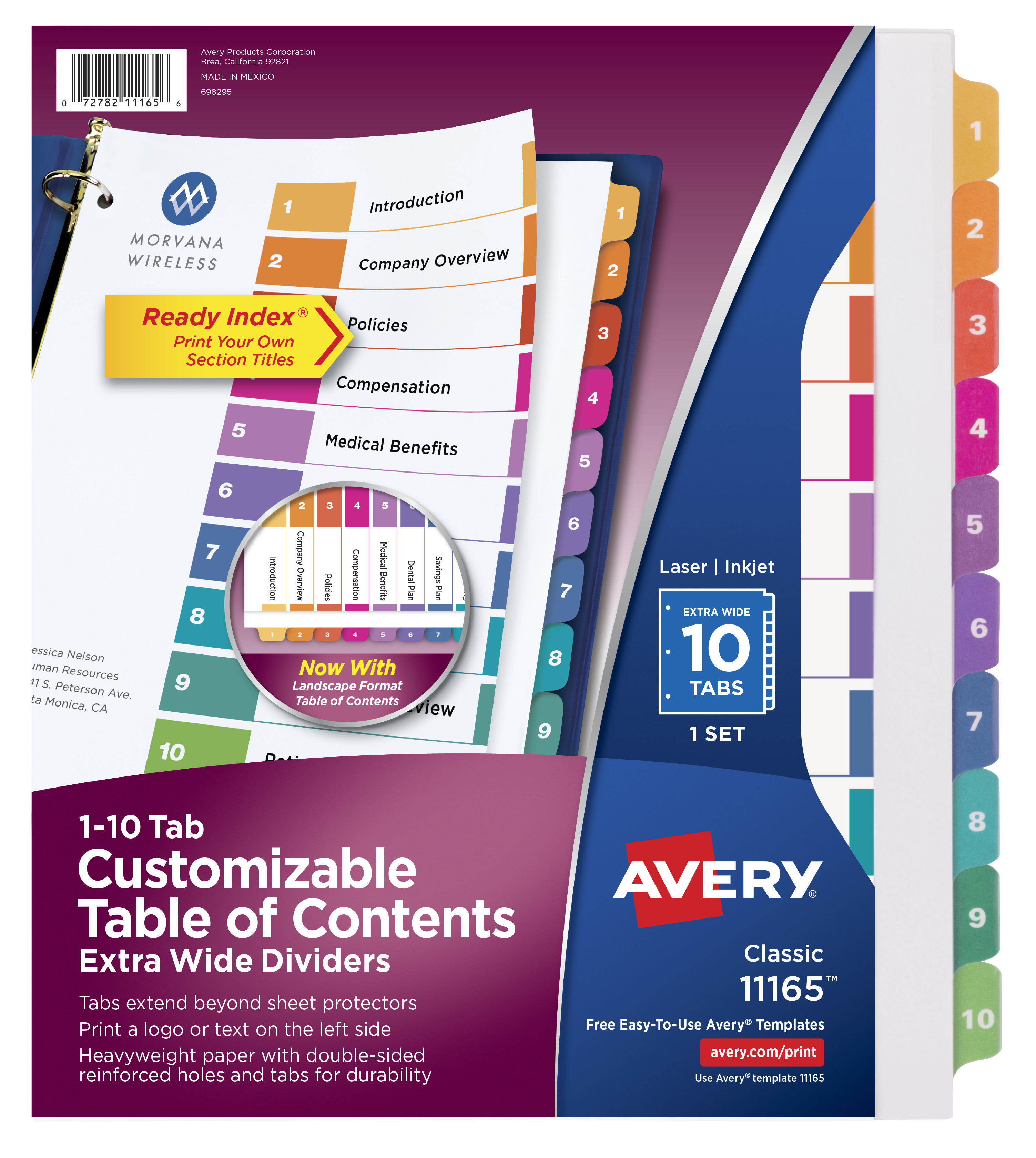 Avery Customizable Table of Contents Extra-Wide Dividers, Ready Index Printable Section Titles, Preprinted 1-10 Multicolor Tabs, 1 Set (11165)