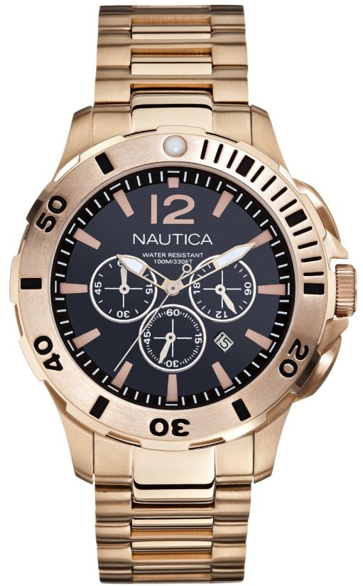 Nautica BFD 101 Gold-Tone Chronograph Mens Watch N27524G by Nautica