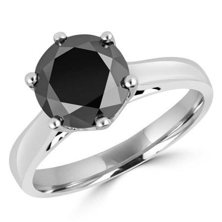 MD170223-4 0.87 CT Round Black Diamond 6 Prong Solitaire Engagement Ring in 14K White Gold - Size 4