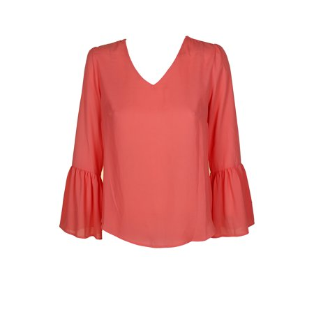 Ny Collection Petite Sugar Coral Flounce-Sleeve V-Neck Blouse PM