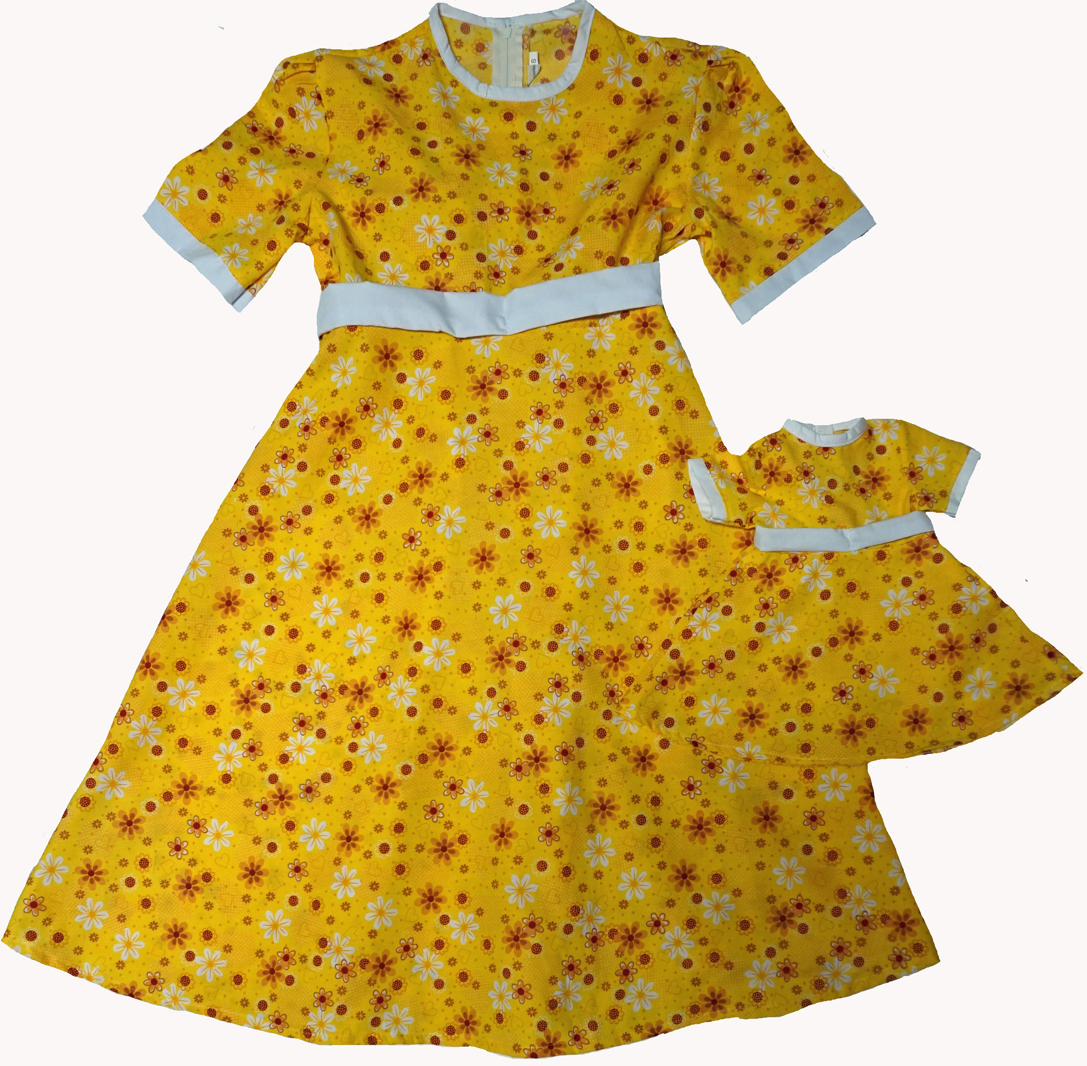 Size 6 Matching Girl And Doll Yellow Sunshine Dresses
