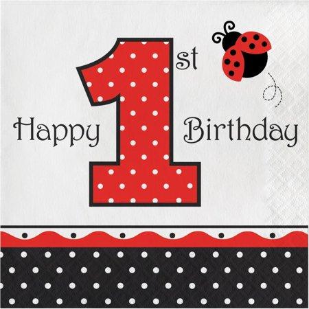 Creative Converting Ladybug Fancy 1st Birthday Napkins, 16 ct - Ladybug First Birthday