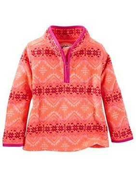 OshKosh B'gosh Little Girls' Quarter-Zip Fleece Cozies, Pink, 2-Toddler