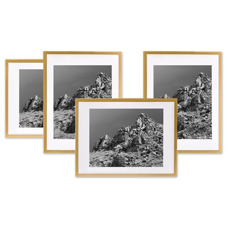 Koyal Wholesale Gold Gallery Wall Frames with White Mats, 8 x 10 Picture Frame Sets, Bulk 4-Pack, Vertical or Horizontal