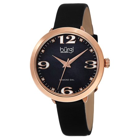 Black Leather Diamond Watch (Burgi  Classic Women's Quartz Diamond Markers Leather Black Strap Watch)