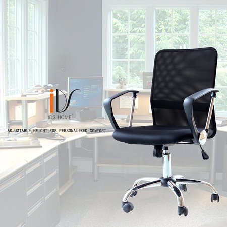 IDS Home Ergonomic Adjustable Mesh Mid-Back Office Task Desk Chair with Arms, Black Back Desk Length Arms