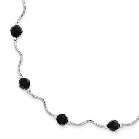 (Sterling Silver with Black Swarovski Elements Beads Spiral Bracelet)