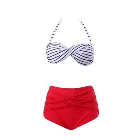 d3ea6848d6 HDE - Women Vintage 50s Pinup Girl Rockabilly High Waist Retro Bikini  Swimsuit Set (Striped Bandeau with Red Bottom, Large) - Walmart.com