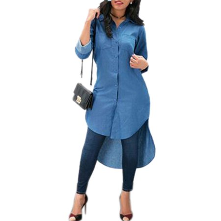 Denim Shirt Women Blue Jeans T-Shirt Long Sleeve Casual Loose Tunic Dress Ladies Autumn Button Lapel V Neck High Low (Denim Long Sleeve Button)