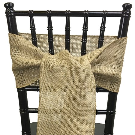 Just Artifacts - Burlap Chair Sash (Natural Tan) - Decorative Chair Sash for Weddings, Anniversarys, Baby Showers, Birthday Parties and Life Celebrations! - Baby Shower Chair Covers