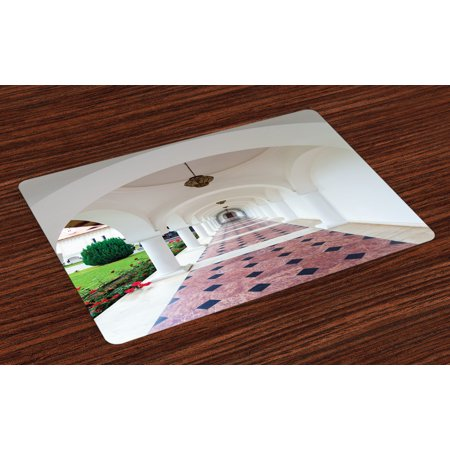 Travel Placemats Set of 4 Dome Arched Colonnade Hallway at Sambata De Sus Monastery in Transylvania Romania, Washable Fabric Place Mats for Dining Room Kitchen Table Decor,White Green, by Ambesonne