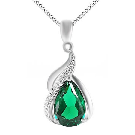 - 3.5 Ct Simulated Green Emerald CZ Pendant Necklace 14k Gold Over Sterling Silver