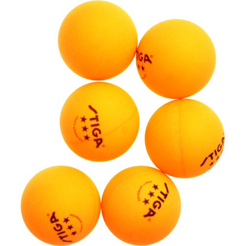 Stiga Three-Star Orange Table Tennis Ball, 6 pack