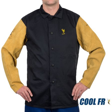 Weldas® COOL FR™ Welding/Fire Retardant/Dielectric Jacket - Cotton and Leather Kevlar® Sewn Sleeves - Navy Blue - Size L
