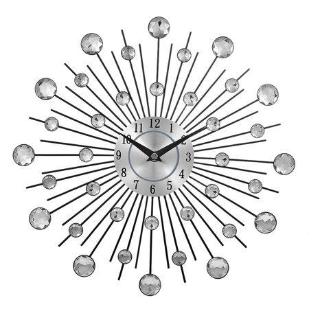 Decorative Crystal Sunburst Metal Wall Clock Home Art Decor Diameter 13 inch Crystal