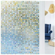 Rabbitgoo Decorative Window Film, Non-Adhesive Privacy Films - Frosted Window Film for Home,Mosaic Patterns,35.4 x 78.7 inches