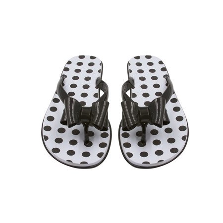 Patent Leather Flip Flops (Sara Z Womens Bow Tie Patent and Print Thong Flip Flops Black/Horizontal Stripe 7/8 )