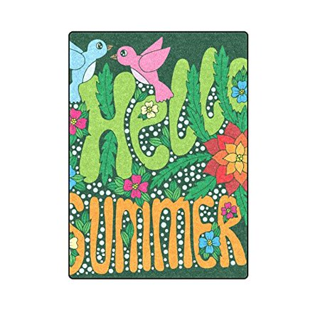 RYLABLUE Hello Summer Lettering With Flower And Bird Couch Sofa or Bed Fleece Blanket Throw 58x80 inches - image 1 de 3