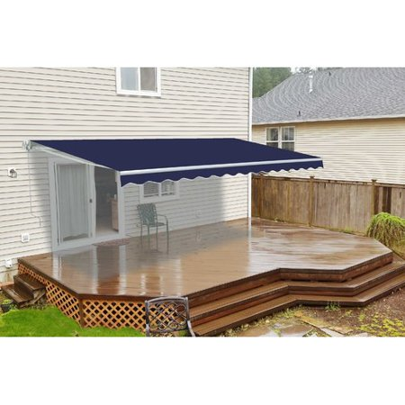 ALEKO 16'x10' Retractable Motorized Patio Awning, Blue Color