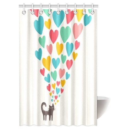 - MYPOP Cat Lover Shower Curtain, Cute Cat in Love with Colorful Different Sizes of Hearts Happy Sweet Clipart Fabric Bathroom Shower Curtain with Hooks, 48 X 72 Inches