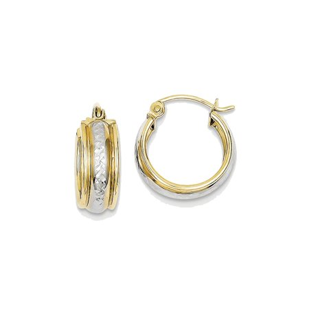 - 10K Yellow Gold Polished Round Hoop Earrings - 15mm