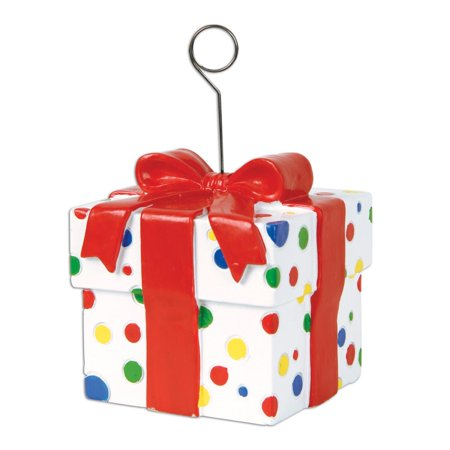 Pack of 6 Multi-Colored Polka Dot Gift Box Photo or Balloon Holder Party Decorations 6 oz.