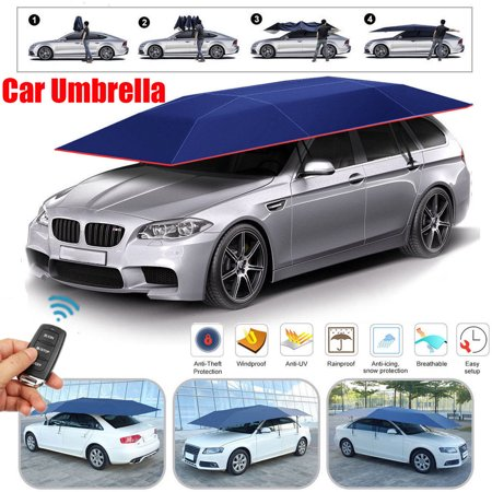 Car Body Protection - 158*83inch Automatic/Semi-automatic Universal Car Tent Movable Carport Car Umbrella Sun Shade Roof Cover Awning Rain UV Protection Cyan/Silver