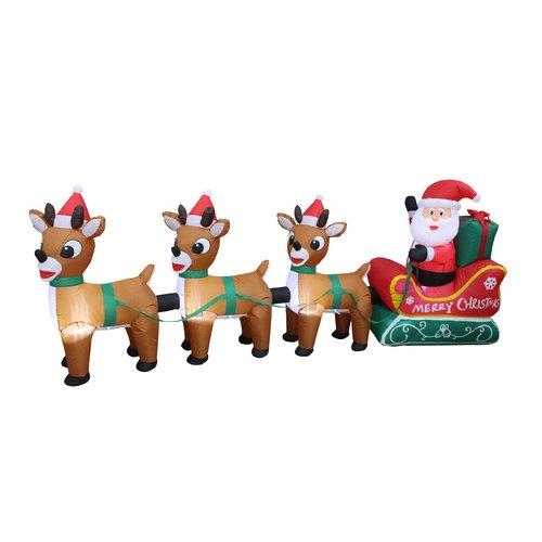 The Holiday Aisle Santa Claus on Sleigh with Three Reindeer Christmas Inflatable