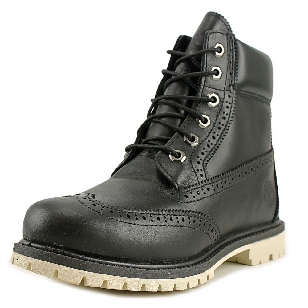 Click here to buy Timberland 6 Inch Premium Brogue Women Round Toe Leather Black Boot by Timberland.