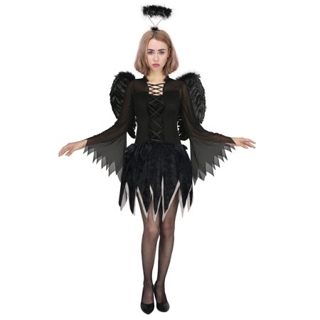 White Angel Costume For Women (HDE Dark Angel Halloween Costume for Women Black Fairy Wings with Matching)