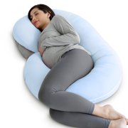 PharMeDoc Pregnancy Pillow with Soft Jersey Cover - C Shaped Body Pillow for Pregnant Women - Baby Blue