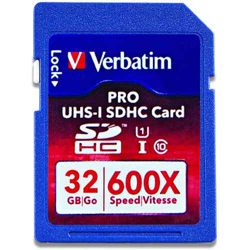 Verbatim 32GB PRO 600X SDHC Class 10 UH Flash Memory Card