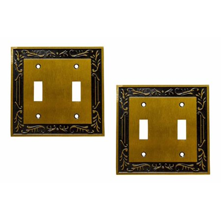 Double Gfci Solid Brass - 2 Victorian Switch Plate Double Toggle Antique Solid Brass | Renovator's Supply