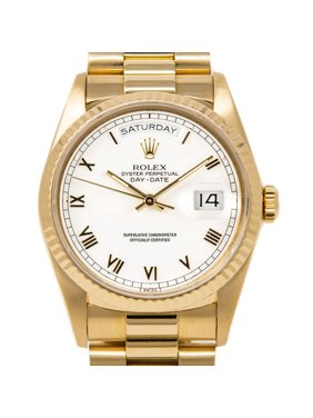 Pre-Owned Rolex Day-Date 18038 36mm Yellow Gold White Roman Automatic 1 Year Warranty