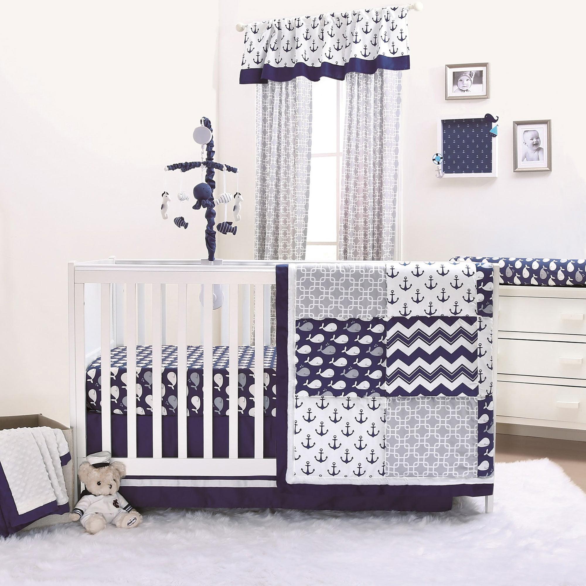 Incroyable Navy Whale Blue Nautical Baby Crib Bedding   11 Piece Sleep Essentials Set    Walmart.com