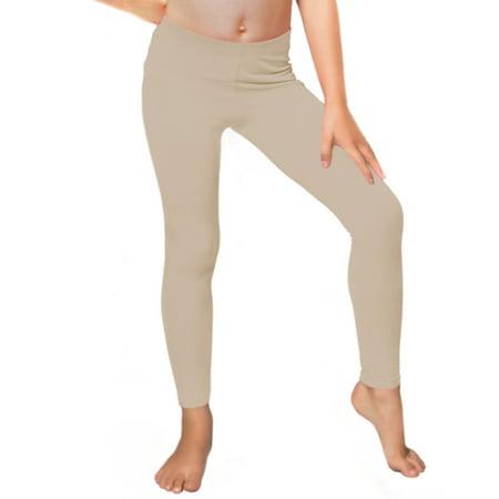 Girl's Cotton Leggings - Small (6) / Beige
