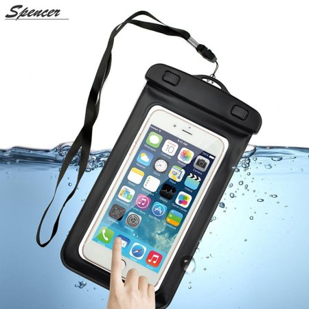 Spencer Universal Waterproof Case, Cellphone Dry Carring Bag Pouch with Lanyard & Armband for iPhone 6S/6/6 Plus/7/ 7plus/8/8plus, Galaxy S6/S5/Note 2/3/4, Huawei 3C/3X/mate 7 up to 6