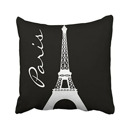 WinHome Decorative Black and White Tower Paris Throw Pillow Covers Printed Cushion Cases for Sofa Bed Pillow Decorative Size 18x18 inches Two Side ()