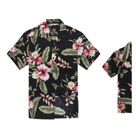 Matching Hawaiian Luau Outfit Men Boy Shirts in Black Rafelsia Men XL Boy 14