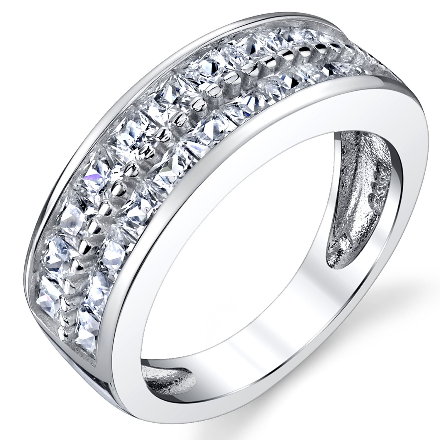 Double Row Princess Cut Men's Sterling Silver Wedding Band Engagement Ring with Cubic Zirconia 7.5mm Sizes 7 to 13