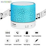 BadPiggies Portable LED Bluetooth Speaker Mini Wireless USB Music Player Radio Sound Colum (Blue)