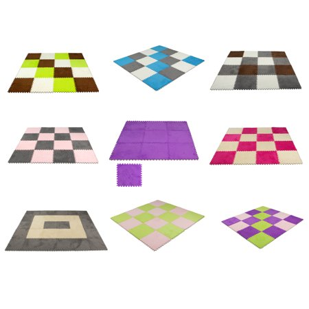 9 pcs Interlocking Carpet Tiles Plush Foam Square Mats Set for Living Room, Bedroom, Kitchen and Hard