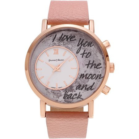 Journee Collection Womens Rose Goldtone To The Moon And Back Dial Link Bracelet Fashion Watch
