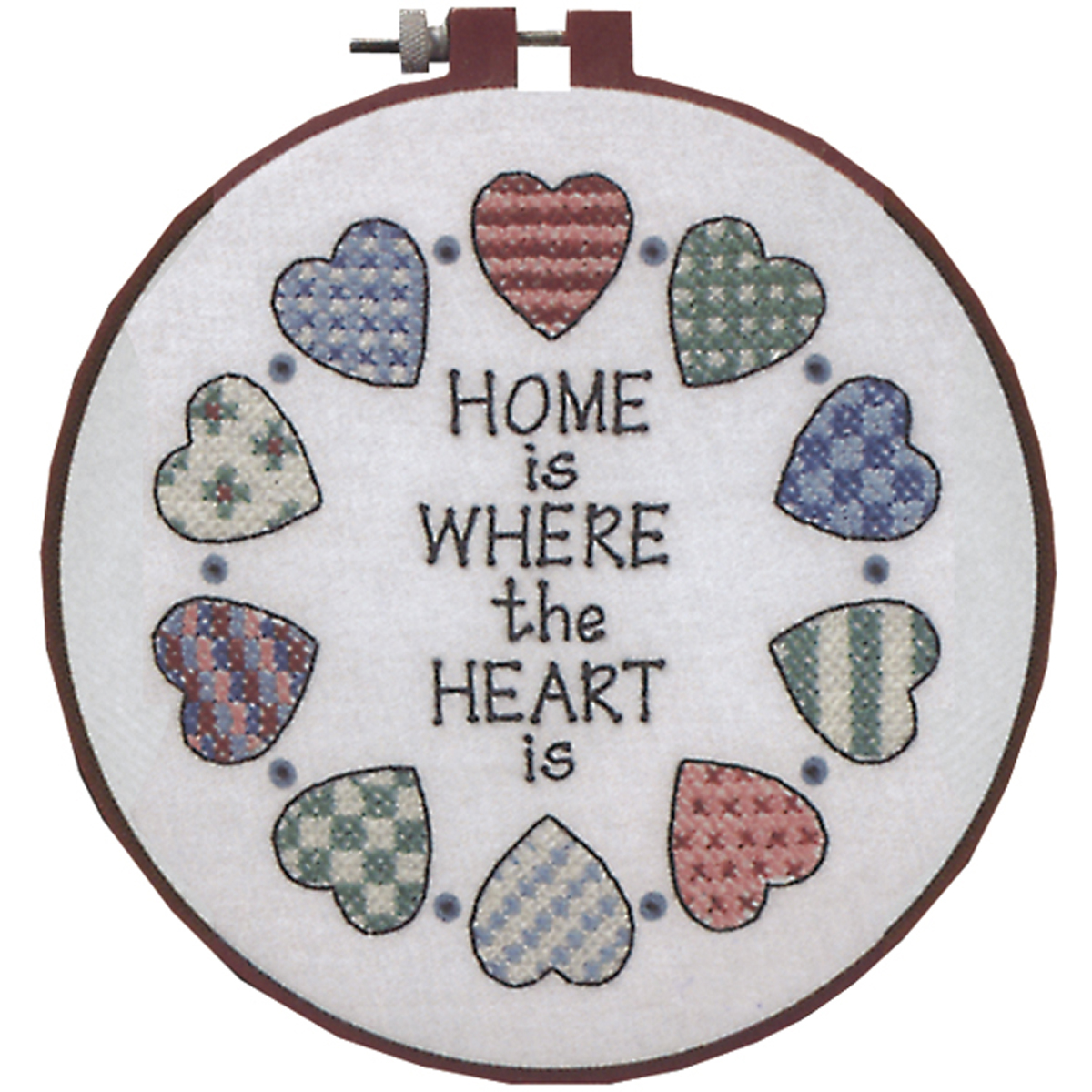 """Dimensions Learn-A-Craft """"Home and Heart"""" Stamped Cross Stitch Kit, 6"""" Round"""