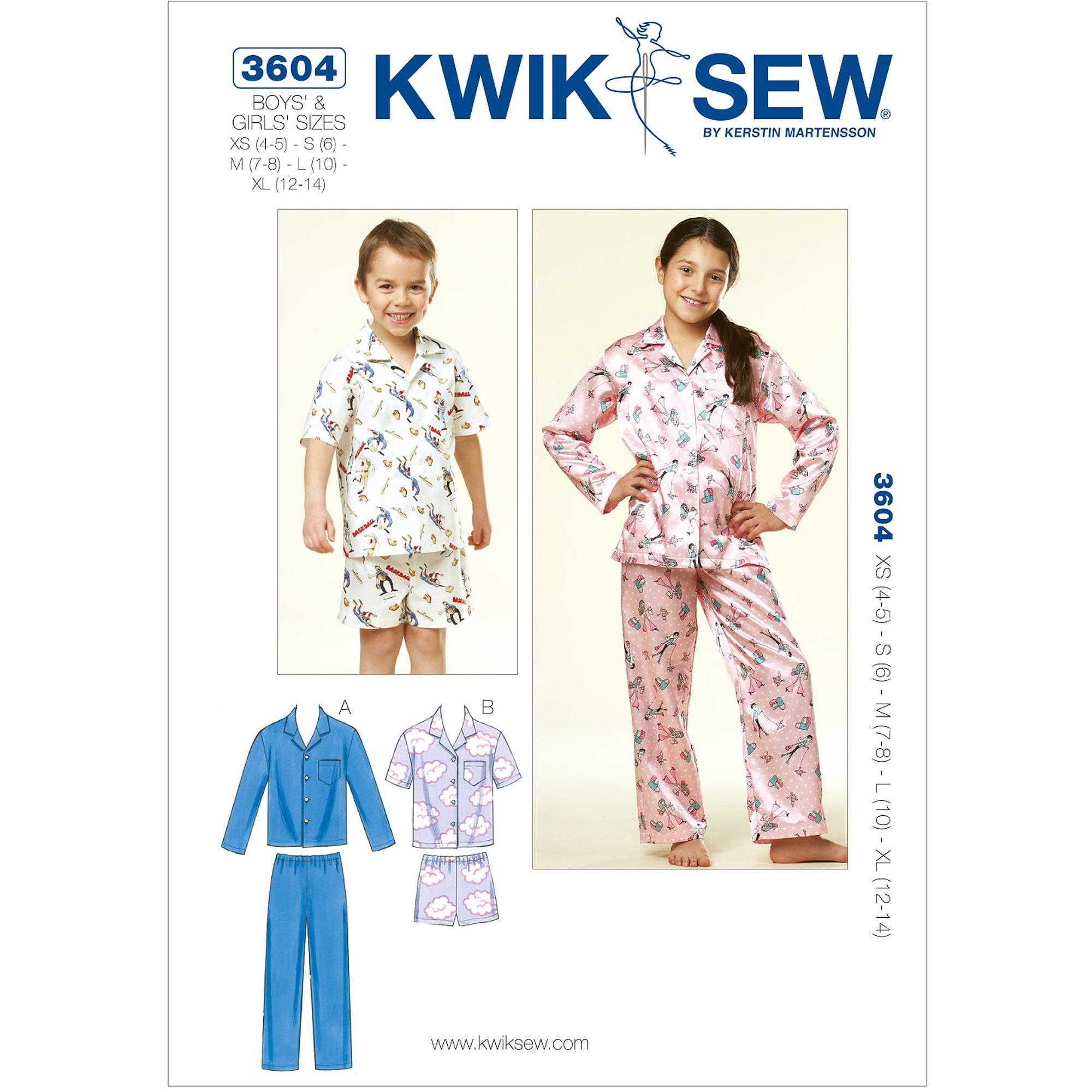 Kwik Sew Boys' and Girls' Pajamas, (XS, S, M, L, XL)