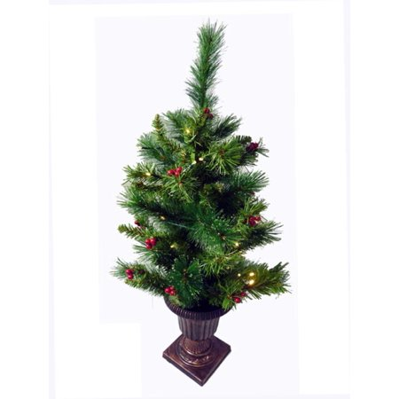 2.5' Pre-Lit Potted Battery Operated LED Lighted Dew Berry Christmas Tree -  Walmart.com - 2.5' Pre-Lit Potted Battery Operated LED Lighted Dew Berry Christmas