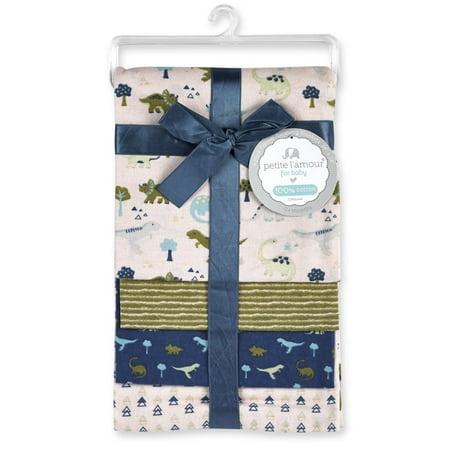 Petite Fit Flannel (Petite L'amour 4-Pack Flannel Receiving Blankets - Dinosaur )