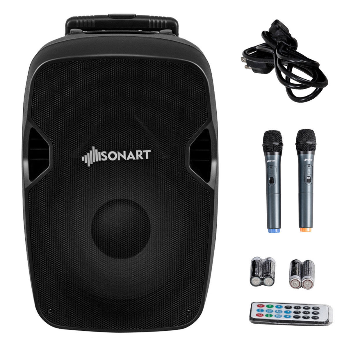 Gymax Portable 2-way 600W Powered Speaker Bluetooth Music Rechargeable Battery