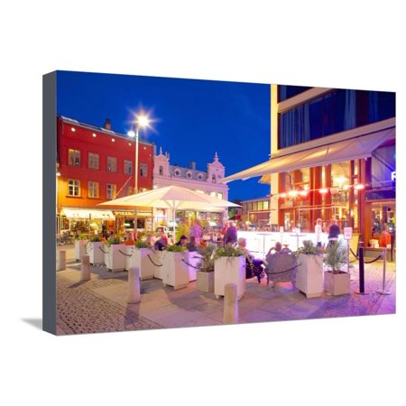 Restaurant on Vallgatan at Dusk, Gothenburg, Sweden, Scandinavia, Europe Stretched Canvas Print Wall Art By Frank Fell